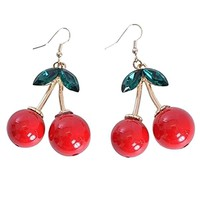 Dazzling Charming Women Red Cherry Dangle Earrings for Wedding Party Gift