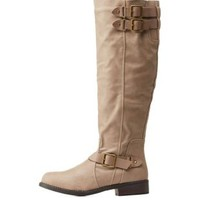 Taupe Round Toe Riding Boots by Dollhouse at Charlotte Russe