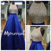 Royal Blue Halteer Satin A Line Open Back Prom Dress With Full Beaded Bodice