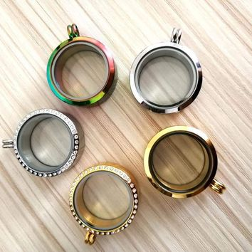 30mm 316 Stainless Steel Round Pearl Locket Memory Living Floating Locket DIY Love Wish Floating Locket Charms 6 Styles ST001