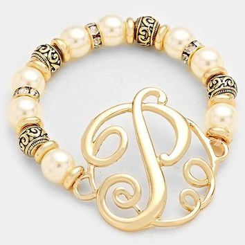 P Pearl & Filigree Metal Beaded Monogram Bracelet