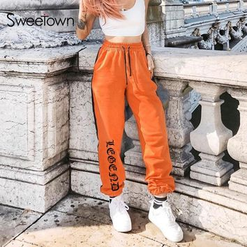 Sweetown Harajuku Autumn Winter Gothic Jogger Pants 2018 Women Orange Pantalon Large Femme High Waist Korean Printed Sweatpants