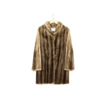 PRISTINE faux sheared fur coat / vintage / plush SOFT! / brown / mink / mid length