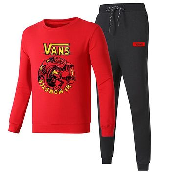 VANS 2018 autumn and winter new long-sleeved pullover casual beam pants plus velvet two-piece Red