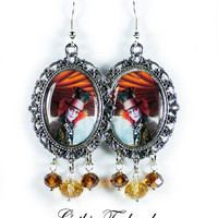 Tim Burton Mad Hatter Earrings Altered Art