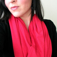 Red Jersey Infinity Scarf, super soft loop scarf, Gift for Her, Valentine's Day scarf
