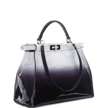 Fendi Peekaboo Large Ombre Patent Satchel Bag, Black/White
