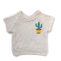 Child's Saguaro Cactus Patch Short Sleeve Raglan Sweatshirt