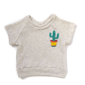Saguaro Cactus Patch Short Sleeve Raglan Sweatshirt