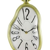 Surreal Melting Wall Clock 15 Inch Gold Frame Dali