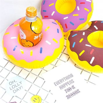 Party Supplies Mini Donuts Inflatable Cup Holder swimming ring Drink Floating Party Beverage Boats Phone Stand Holder Pool Toys