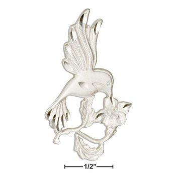 Sterling Silver Charm:  Flower And Hummingbird Pendant