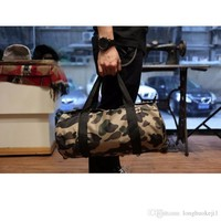 SUPREME Large Capacity Travel Duffle Striped Unisex canvas Outdoor One Shoulder Cycling Bags Camouflage Crossbody Bag