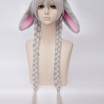 Silver Rabbit Straight Hair Halloween Cosplay Wig