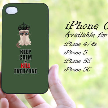 grumpy cat keep calm design iphone case for iphone 4 case, iphone 4s case, iphone 5 case, iphone 5s case, iphone 5c case
