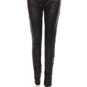 Espresso Drip Leggings- Black Sequin