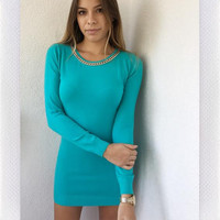 SWEDEN CHAIN SWEATER- TURQUOISE