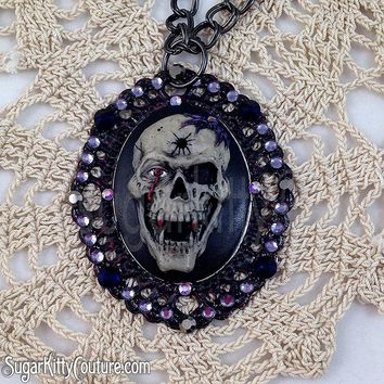 Handpainted Skulls Cameo Statement Necklaces