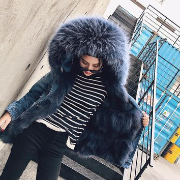 2017 new winter jacket women basic coat Holes bomber Denim jacket natural real large fox fur collar Fox fur thick warm Liner