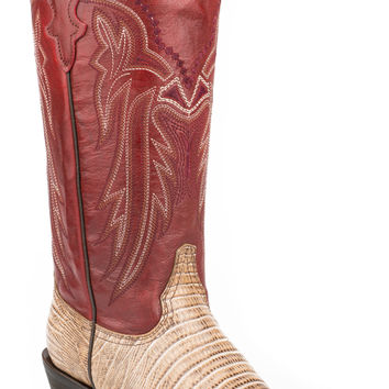 Roper Ladies Faux Exotic On Leather Sq Toe Boots Teju Lizard 13 Shaft