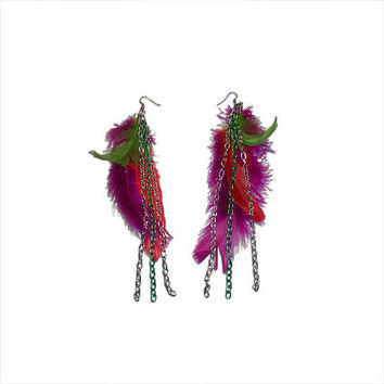 Magenta, Red, and Lime Green Feather and Chainlink Earrings