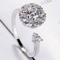 Rotate the index finger ring crown diamond ring while silver plated