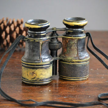 Brass Binoculars Leather Wrapped / Vintage Field Glasses / Steampunk