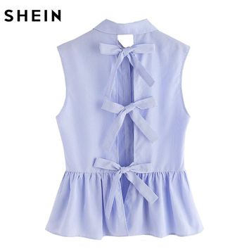 SHEIN Shirt Women Blue Blouses in Women Blouses Summer Cute Striped Bow Tie Split Back Sleeveless Peplum Shirt