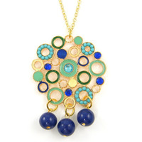 Long Boho Necklace, Circle Necklace, Blue Green Gold Pendant Medallion Necklace