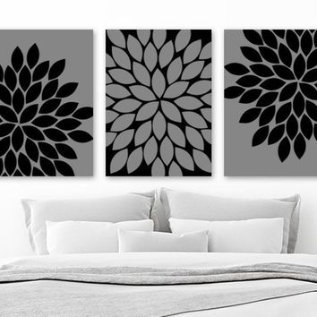 Black Gray Flower Bedroom Wall Decor, Flower Canvas or Print, Flower Black Gray Bathroom Decor, Gray Flower Wall Art Set of 3 Floral Artwork