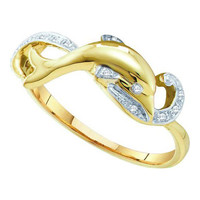 Diamond Dolphin Ring in 10k Gold 0.05 ctw