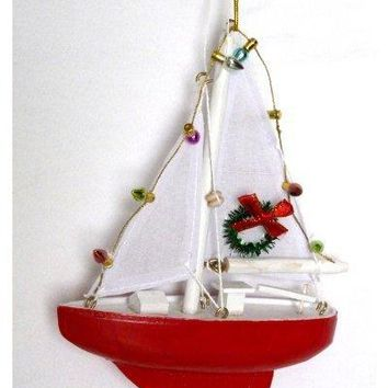 Sailboat with Lights and Wreath Christmas Ornament - Holiday Nautical Beach Decor