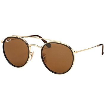 Ray-Ban RB 3647N 001/57 Round Double Bridge Gold Brown Sunglasses Brown Polarize