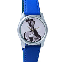 Village Lady Graphic Art Wrist Watch