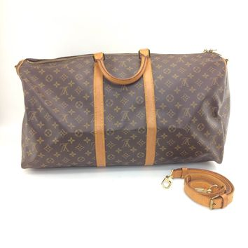 Auth Louis Vuitton Monogram Canvas leather Keepall Bandouliere 55 Boston Bag