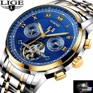 Relogio Masculino LIGE Mens Watches Top Brand Luxury Automatic Mechanical Watch Men Full Steel