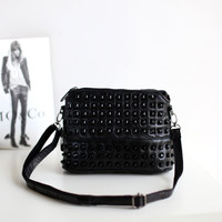 Stylish Autumn One Shoulder Rivet Mosaic Leather Messenger Bags [4915798660]