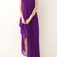 Purple Sleeveless Chiffon Maxi Dress