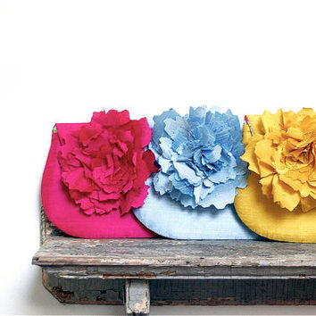 fuchsia blue and yellow silk bridesmaids purse personalize by eclu
