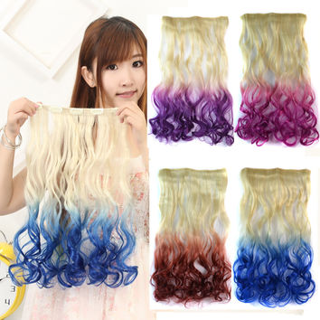 1 Pc Fashion gradual change colors five card long straight hair wig piece