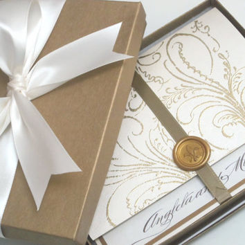 Boxed Luxury Wedding Invitation  Marie Antoinette by anistadesigns