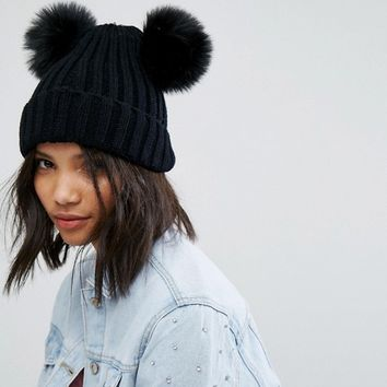 My Accessories Beanie with Double Faux Fur Pom at asos.com