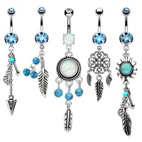 BodyJ4You 5PCS Dangle Belly Button Ring 14G Tribal Curved Barbell Navel Surgical Steel Created-Opal Aqua