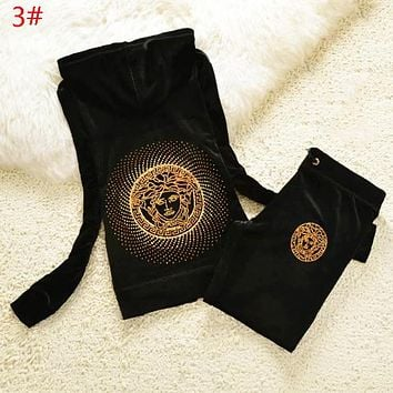 Versace Women Autumn And Winter Hoodie Diamond Human Head Top Sweater Pullover Sportswear Pants Trousers Set Sports Leisure Two-Piece Suit
