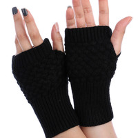 Black Knitted Hand Warmers