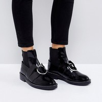 ASOS ADEL Leather Ring Ankle Boots at asos.com