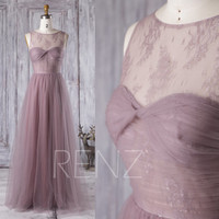 2016 Long Dusty Rose Bridesmaid Dress, Sweetheart Lace Illusion Wedding Dress, A Line Evening Gown, Open Back Prom Dress Floor Length(LS165)