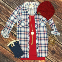Penny Plaid Flannel Top: White/Red