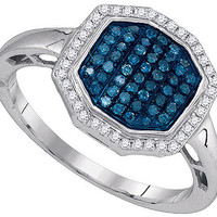 Blue Diamond Fashion Ring in 10k White Gold 0.33 ctw