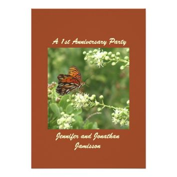 1st Anniversary Party Invitation Butterfly